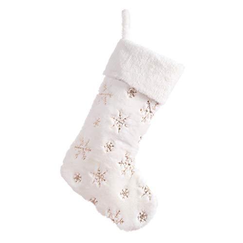 Weihnachtsschneeflocke-Socken, Die Weihnachtsbaum-Faux-Pelz-Weihnachtsstrumpf-Süßigkeits-Geschenk-Tasche Hängen