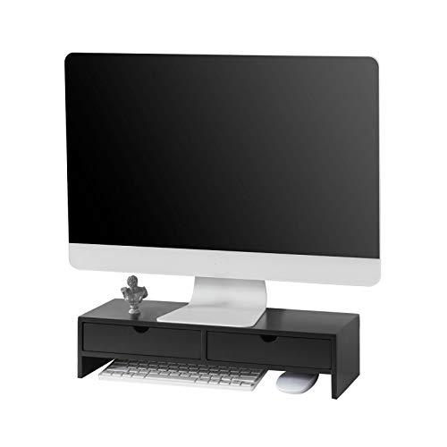 SoBuy BBF02-Sch Monitorstandaard Computerstandaard Bureau-organizer met 2 Laden - Zwart - ca. 47 x 18 x 11 cm