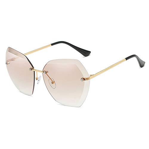 WHSS Gafas de Sol Gafas de Sol de Playa Gafas de Sol Ocean Piece Gafas de Sol sin Marco Retro Mujer Gafas de Sol Metal - Marrón
