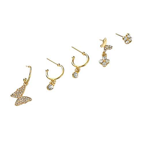 HINK Pendientes encantadores de Mariposa con Personalidad de Moda para Mujer, Conjunto de Pendientes de joyería y Relojes, Pendientes