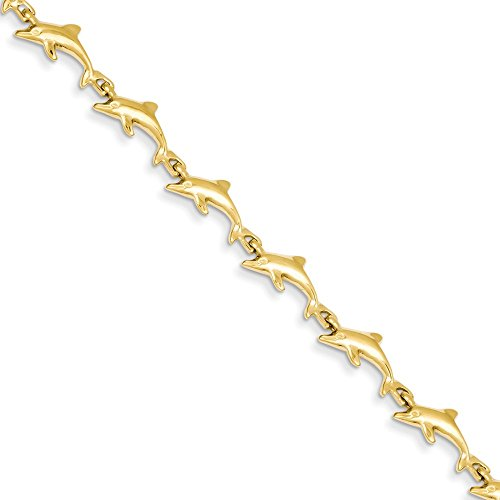 Diamond2Deal Solid 14k Yellow Gold Dolphin Bracelet 7inch fine jewelry gift for women