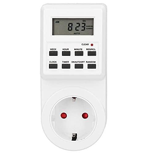 Enchufe de temporizador inteligente de 12/24 horas, enchufe de temporizador para electrodomésticos de cocina, enchufe de temporizador de 240 V 16 A con manual en inglés (enchufe de la UE)