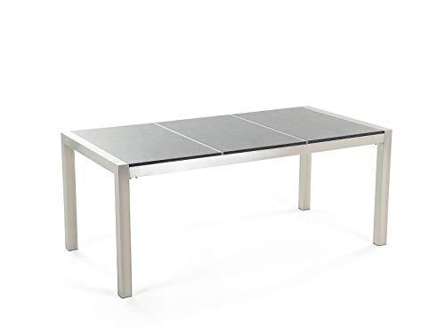 GXK Klassischer Gartentisch 3 Platte Granit poliert grau 180 cm