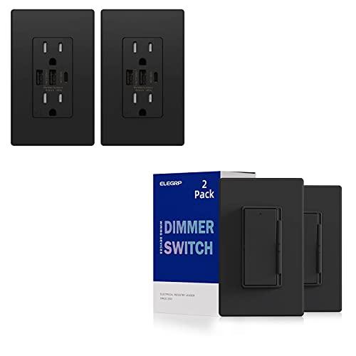 ELEGRP 30W 6.0 Amp 3-Port USB Wall Outlet & ELEGRP Digital Dimmer Light Switch