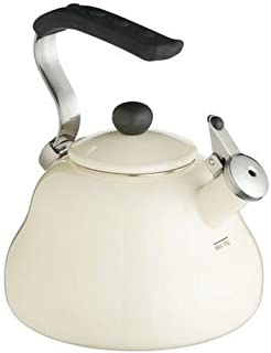 Kitchencraft Enamelled Whistling Kettle for Hob Induction 2 Litre / 67 fl oz, Cream
