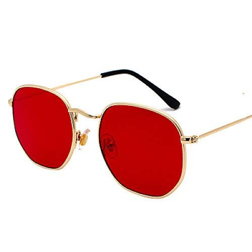 Secuos Moda Gafas De Sol Hexagonales De Diseñador De Marca para Mujer, Gafas De Sol Cuadradas Pequeñas para Hombre, Montura Metálica para Conducir, Gafas De Pesca, Goldclearred