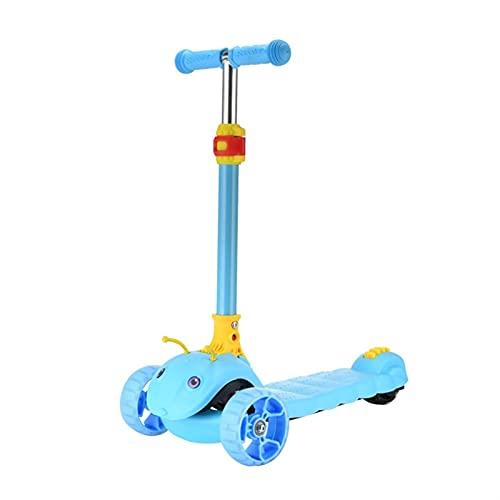 WANGYIYI Patinetes Scooter Plegable para niños Patinete de Altura Ajustable Scooters de Tubo de aleación de Aluminio con Rueda Intermitente de PU para 2-8 años (Color : Blue)