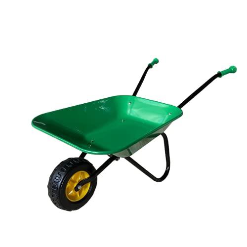 ASC Brouette en métal pour enfant - Vert/noir - Jouet, ferme, jardinage
