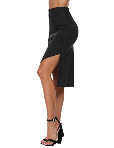 Zeagoo Womens Stretchy Asymmetric Hem High Low Pencil Solid Skirt,Black3,Medium