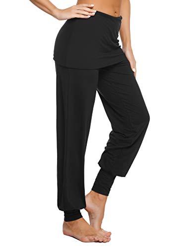 Sykooria Pantaloni da Yoga Larghi Harem da Donna Pantaloni Ragazza alla Moda con Lunghi Elastico Caviglia Pantalone per Jogging Sportivi Fitness - Nero XL