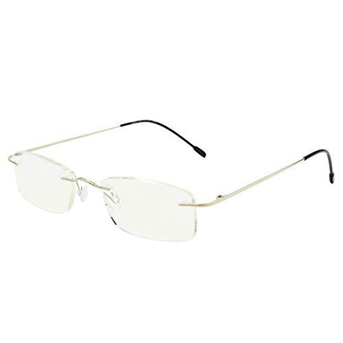 LianSan 8020 - Occhiali da lettura da uomo in titanio 100%, senza cornice, luce blu