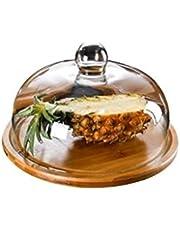 PetAAA - Caja de madera para tartas, plato de pan y tapa de cristal para restaurante, ensalada, sushi, soporte para tartas, café, postre, bandeja de pastelería y astillado (26/29/33 cm), vidrio, 29CM