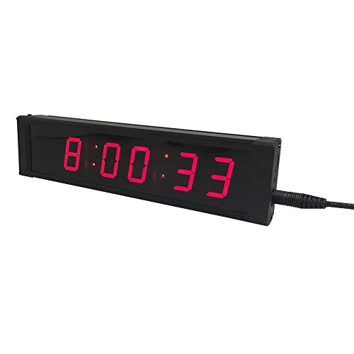 EVFIT Temporizador de Gimnasio 1 Pulgadas Hight Personaje Solo Lado Timing LED Sport Reloj de Cuenta atrás/up Timer con Control Remoto IR (Color : Red, Size : Digital Height 1inch)