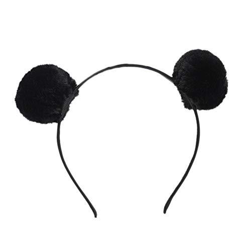 Dontdo Niedlicher Kopfbügel für Damen mit zwei Plüsch-Pompons, Haarreif, für Party, als Fotorequisite, Haarband