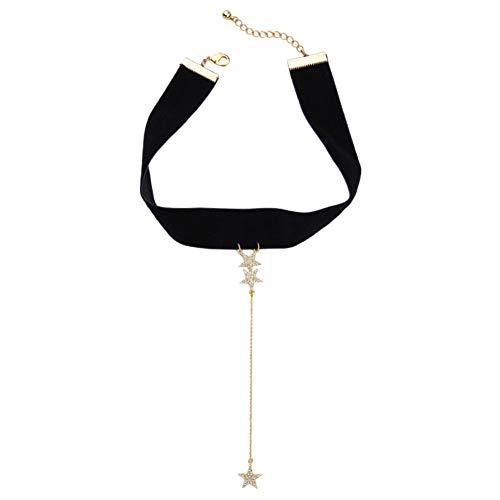 MDHANBK Collar de Mujer Negro Ancho de Cuero Cristal Estrella Colgante Collar Boda Fiesta