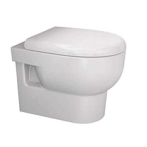 Aqua Bagno cisterna wc de borde de cerámica sin cisterna borde Incluye Asiento con Descenso Automático–Tapa de inodoro Set compuesto de inodoro y
