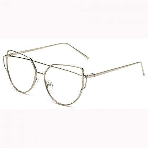 YTYASO Montura de Gafas de Ojo de Gato de Metal de Gran tamaño para Mujer, Montura de Gafas Transparentes para Hombre a la Moda para Mujer