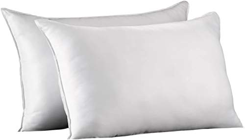 Ella Jayne Home Standard Size Bed Pillows- 2 Pack White Hotel Pillows- Gel Fiber Filled FIRM Gel Pillows with Hypoallergenic Classic Cover- Best Pillow For Side Sleepers & Back Sleepers