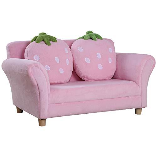 HOMCOM Kindersofa Kindersessel Sofa Couch Kinder Stuhl Kinderzimmer Softsofa Doppelsofa Einzelsofa(Erdbeersofa)