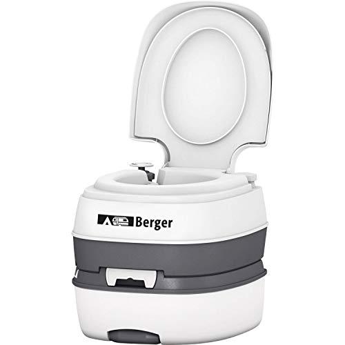 Berger Campingtoilette Mobil WC Deluxe Caravan Camping Wohnmobil Toilette WC Chemietoilette weiß