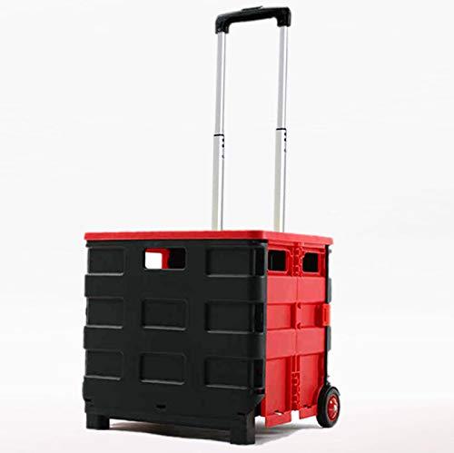 QXTT Einkaufstrolley Klappbar Mit Deckel Einkaufswagen Transportwagen Mit Teleskopgriff Bis Zu 50kg Für Camping Einkauf Urlaub