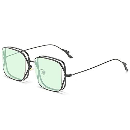 MANW Gafas de sol con montura grande, doble anillo, cuadradas, gafas de sol, gafas de protección solar-C