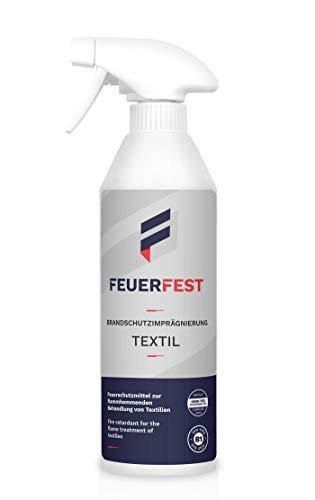 FEUERFEST® Brandwerende pregnering voor textiel, DIN 4102 B1-500 ml, voldoet aan de standaard 100 van Oeko-Tex, vlamvertrager, brandwerende spray, brandwerende spray