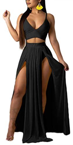 Women Sexy 2 Piece Outfits Dress Chiffon Strap Deep V Neck Bra Crop Top High Split Maxi Dresses Skirt Set Black