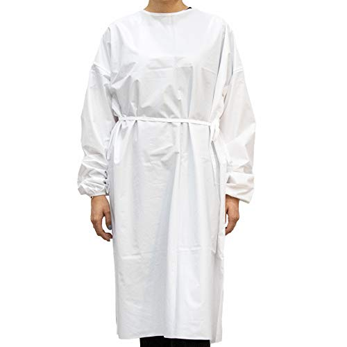 100 Gowns Milliard Reusable, Washable, Waterproof polyester Isolation Gown - Reusable Up to 50 Washes | Universal Size | White (100)