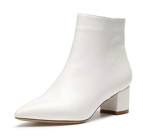 CASTAMERE Damen Reißverschluss Stiefeletten Blockabsatz Spitzen Zehen Mittel Heel 5CM Weiß Pu Schuhe EU 43
