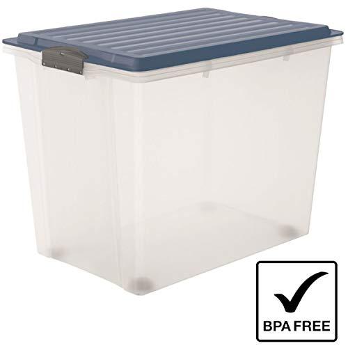Rotho 1164906161 Compact Aufbewahrungsbox mit Deckel und Rollen Kunststoff transparent/blau