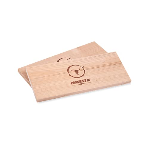 Moesta - 2 Tavolette per affumicare XXL in legno di ciliegio, riutilizzabili, senza corteccia, per barbecue a carbonella, elettrici, a gas e forni, BBQ 10682 Per affumicatura: come un affumicatore.