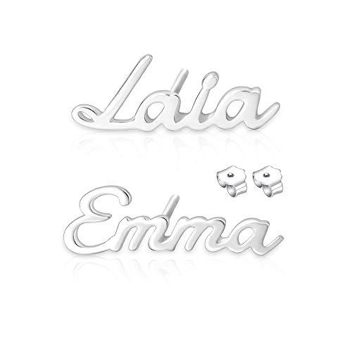 Pendientes personalizados con nombre Pendientes de plata con nombre para mujer