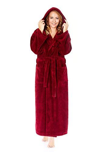 Arus-Microfaser-Bademantel-Damen-Kapuze Farbe: Bordeaux, Größe: M Extra Lang