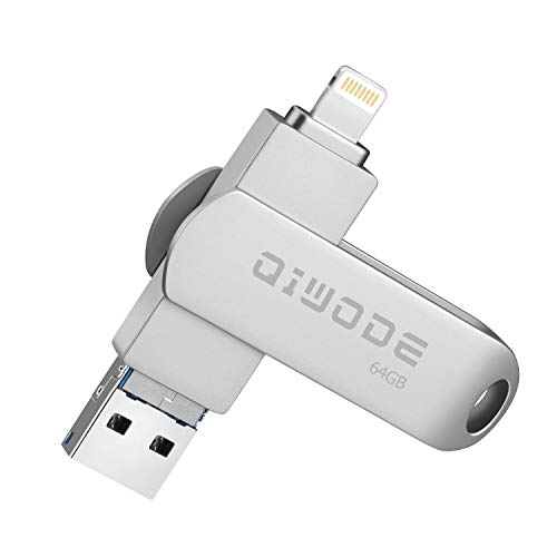 Qiwode USB Flash Drive 32 GB, 3-in-1 Photo Stick Compatibel voor iPhone iPad Android en Computer Externe Opslag Memory Stick 64 GB 64 Gb