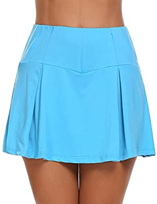 Guteer Women's Active Skort Casual Pleated Skirt for Running Tennis Golf Workout Blue, Small