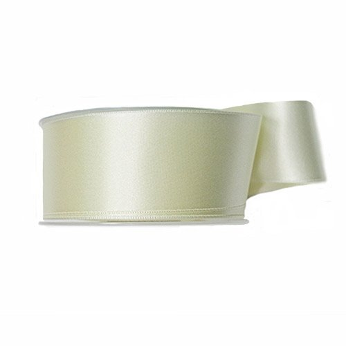 P&B de Haute qualité Double Face Ruban Satin, Polyester, Off/Blanc, 48 mm x 25 m