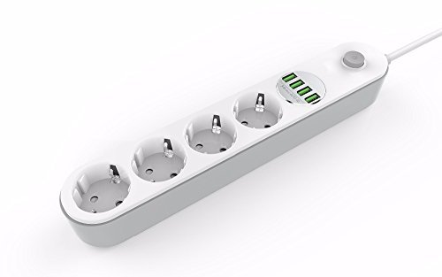 Pritech stekkerdoos met 4 stopcontacten en 4 USB snellading tot 3,4 A multifunctionele stekkerdoos voor thuis