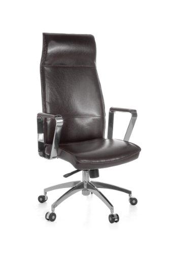 Amstylle Schreibtischstuhl BZW. Chefsessel in Echtleder braun mit Synchronmechanik und Kopfstütze - Belastbarkeit 120 kg