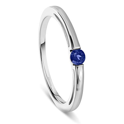 Miore solitaire blue sapphire engagement ring in 14 kt 585 white gold