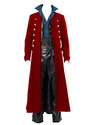 Mens Steampunk Vintage Jacket Gothic Victorian Frock Coat Uniform Halloween Costume Tailcoat Red