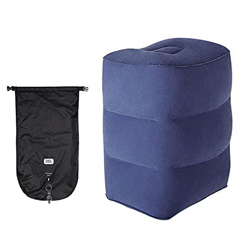Almohada inflable para descansos de pies, reposapiés para niños, cama de viaje para aviones, coches, hogar, trenes, oficina (3 capas)