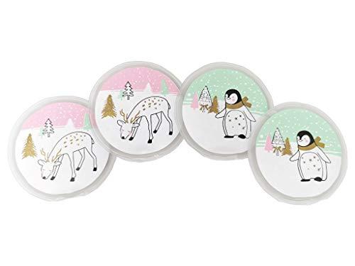 Selldorado® 4 Stück Taschenwärmer wiederverwendbar - Handwärmer zum knicken für Kinder - Wärmepad für kalte Tage und für unterwegs - Wärmeknickkissen (Pinguin/REH)