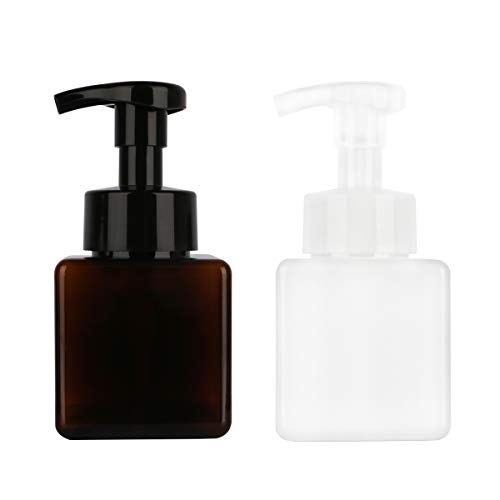 Yebeauty Pump Bottle, 2 Pack of Square Soap Pump Sispenser Bottle Foam Pump Bottle Dispenser for Bathroom Kitchen- 8.5oz/250ml, Brown + White