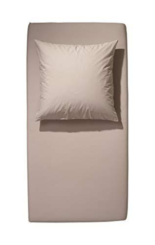 hessnatur Jersey-Spannbetttuch aus Reiner Bio-Baumwolle Taupe 140-160x200 cm