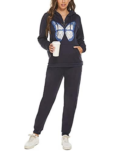 JENJON Mujer Conjunto de Chándal Chándal Mujer Completo 2 Piezas Estampado de Mariposas con Capucha + Pantalones Largos de Cintura Alta para Otoño Invierno Azul XXL