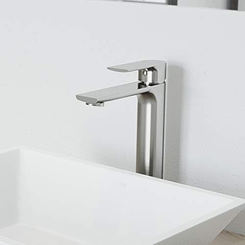 """VIGO VG03027BN 11"""" H Norfolk Brushed Nickel Single-Handle Single Hole Vessel Deck-Mount WaterSense Bathroom Sink Faucet"""