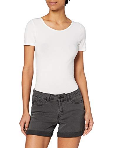 NOISY MAY Damen NMBE Lucy NW DEN FOLD GU812 NOOS Shorts, Grau (Dark Grey Denim), 36 (Herstellergröße: S)