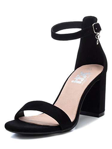 XTI 35198, Scarpe col Tacco con Cinturino Dietro la Caviglia Donna, Nero (Nero Nero), 37 EU