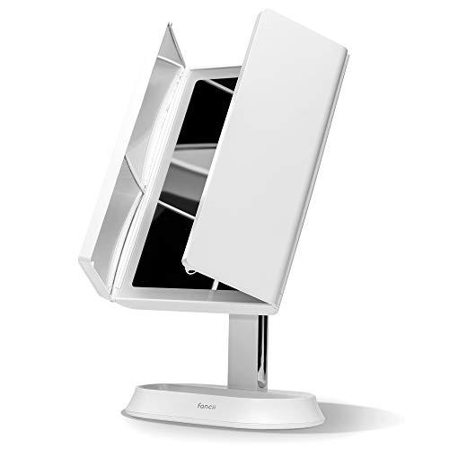 Fancii Miroir Maquillage Lumineux LED Rechargeable avec Grossissements 5X / 7X et 3 Réglages D'éclairage - 60 Lumières Naturelles, Écran Tactile, 360° Rotation, Stand Cosmétique (Zora)